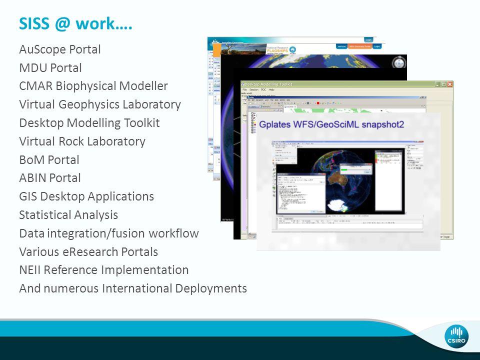 SISS @ work…. AuScope Portal MDU Portal CMAR Biophysical Modeller Virtual Geophysics Laboratory Desktop Modelling Toolkit Virtual Rock Laboratory BoM