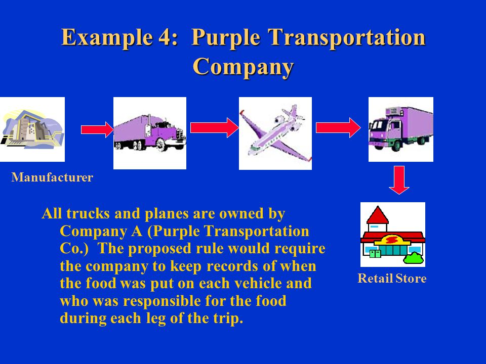 Example 4: Purple Transportation Company All trucks and planes are owned by Company A (Purple Transportation Co.) The proposed rule would require the company to keep records of when the food was put on each vehicle and who was responsible for the food during each leg of the trip.