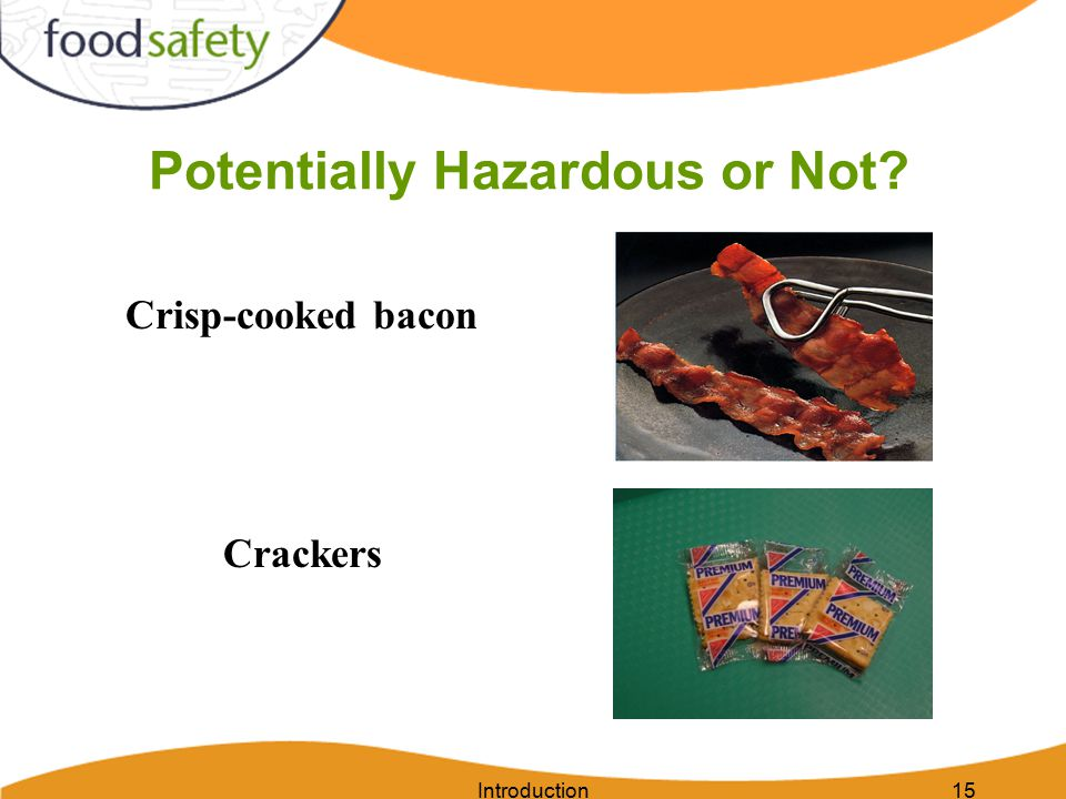 Introduction15 Potentially Hazardous or Not? Crisp-cooked bacon Crackers