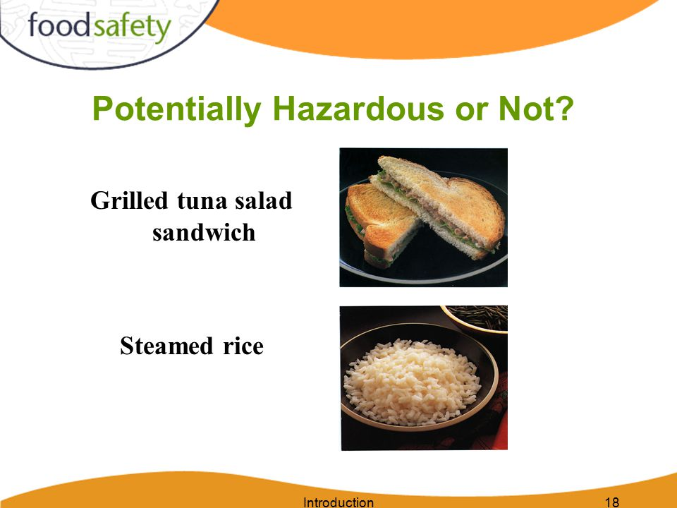 Introduction18 Potentially Hazardous or Not Grilled tuna salad sandwich Steamed rice