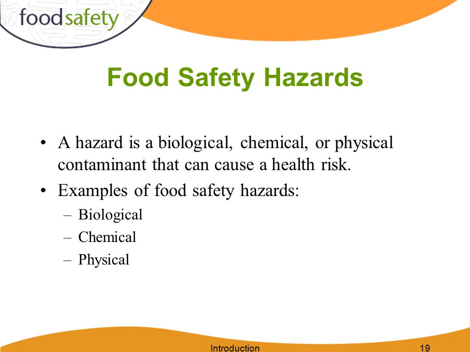 Introduction19 Food Safety Hazards A hazard is a biological, chemical, or physical contaminant that can cause a health risk.