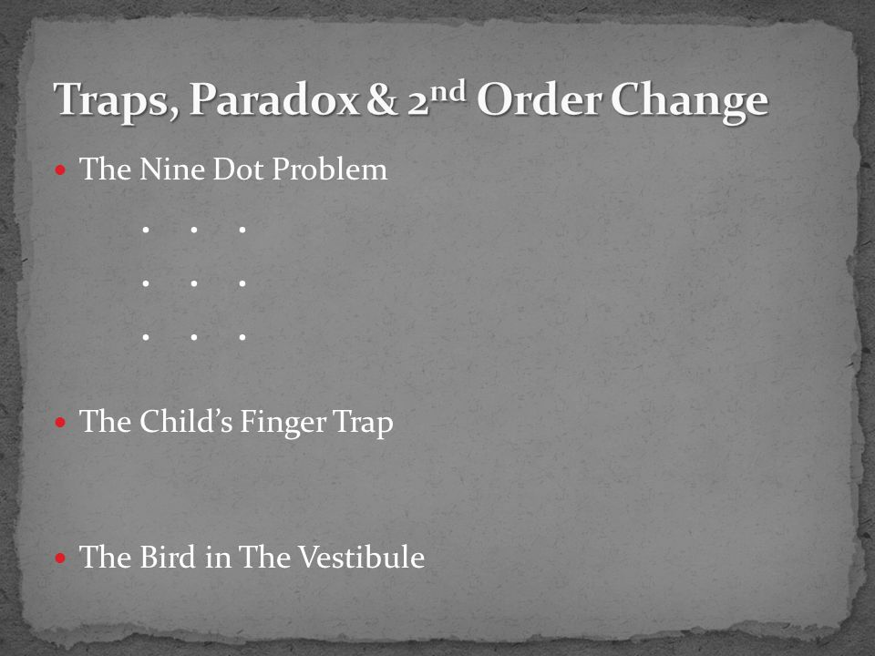 The Nine Dot Problem... The Child's Finger Trap The Bird in The Vestibule
