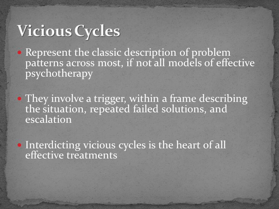 Represent the classic description of problem patterns across most, if not all models of effective psychotherapy They involve a trigger, within a frame describing the situation, repeated failed solutions, and escalation Interdicting vicious cycles is the heart of all effective treatments