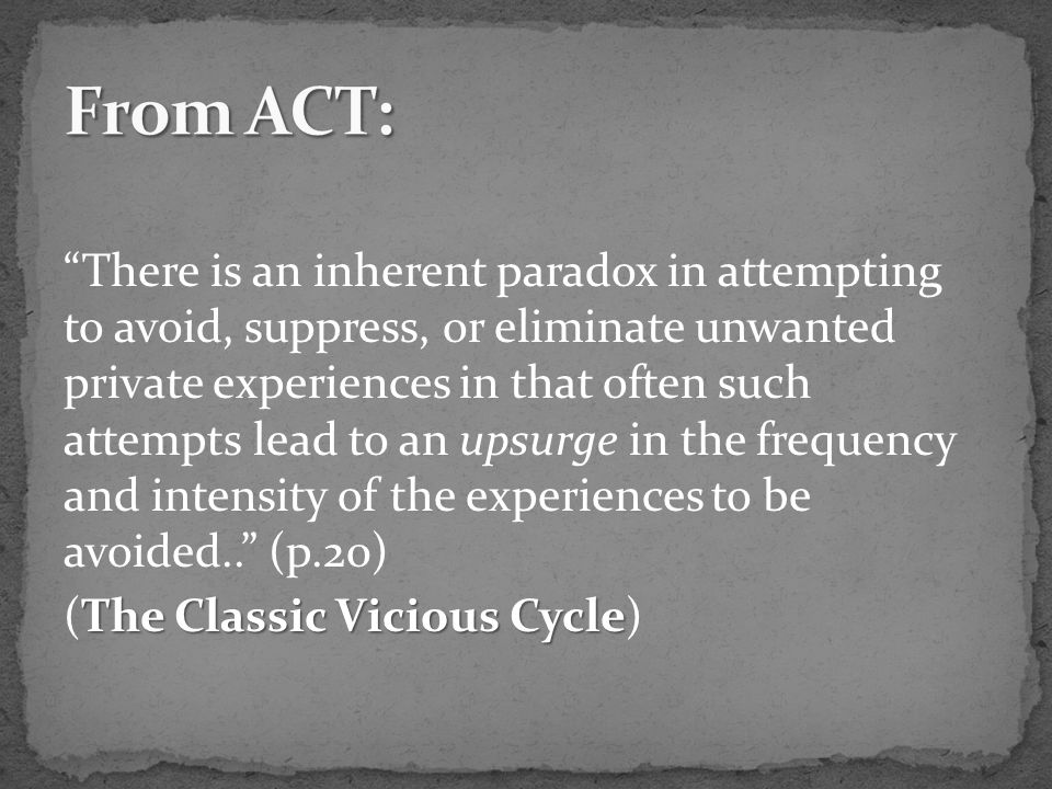 There is an inherent paradox in attempting to avoid, suppress, or eliminate unwanted private experiences in that often such attempts lead to an upsurge in the frequency and intensity of the experiences to be avoided.. (p.20) The Classic Vicious Cycle (The Classic Vicious Cycle)