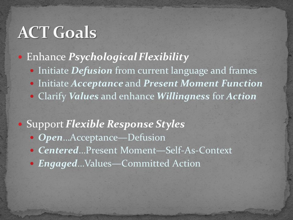 Enhance Psychological Flexibility Initiate Defusion from current language and frames Initiate Acceptance and Present Moment Function Clarify Values and enhance Willingness for Action Support Flexible Response Styles Open…Acceptance—Defusion Centered…Present Moment—Self-As-Context Engaged…Values—Committed Action