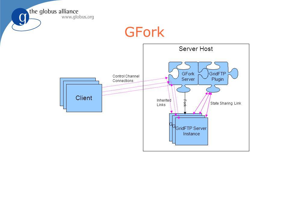 GFork Client Server Host GFork Server GridFTP Plugin GridFTP Server Instance Fork GridFTP Server Instance GridFTP Server Instance State Sharing Link Client Inherited Links Control Channel Connections