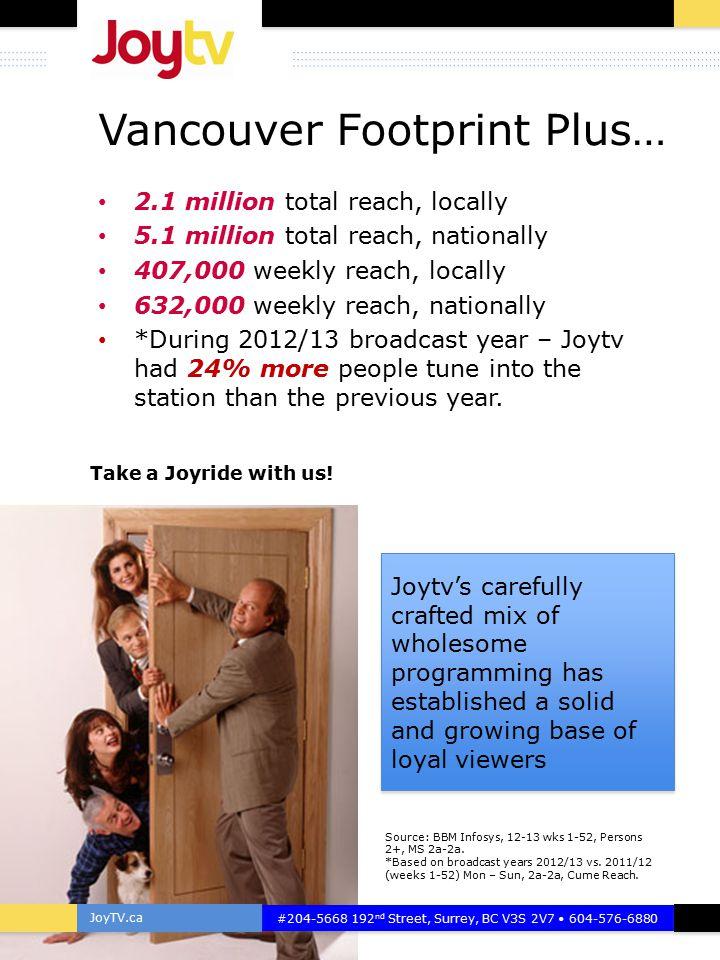 JoyTV.ca #204-5668 192 nd Street, Surrey, BC V3S 2V7 604-576-6880 COVERAGE CHANNEL GUIDE Available Reach 5.1 million Nationally 2.1 million Vancouver EM Bell Satellite Ch.