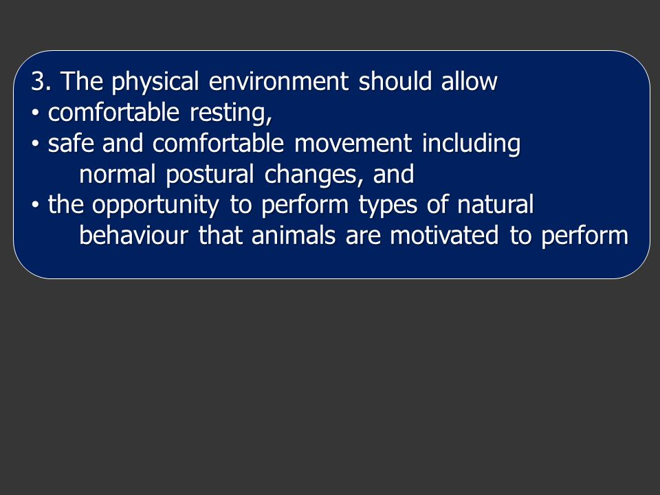 3. The physical environment should allow comfortable resting, comfortable resting, safe and comfortable movement including safe and comfortable moveme