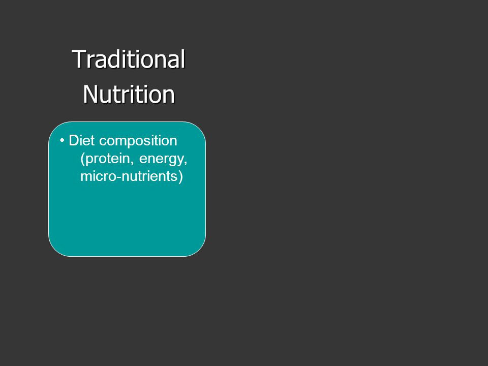 TraditionalNutrition Diet composition (protein, energy, micro-nutrients)