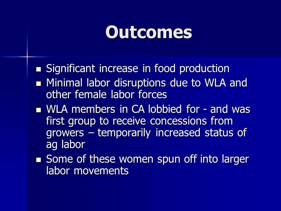 Outcomes Significant increase in food production Significant increase in food production Minimal labor disruptions due to WLA and other female labor f