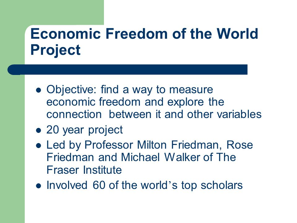 What is Economic Freedom The key ingredients of economic freedom are : Personal choice Voluntary exchange coordinated by markets Freedom to enter and compete in markets Protection of persons and their property from aggression by other