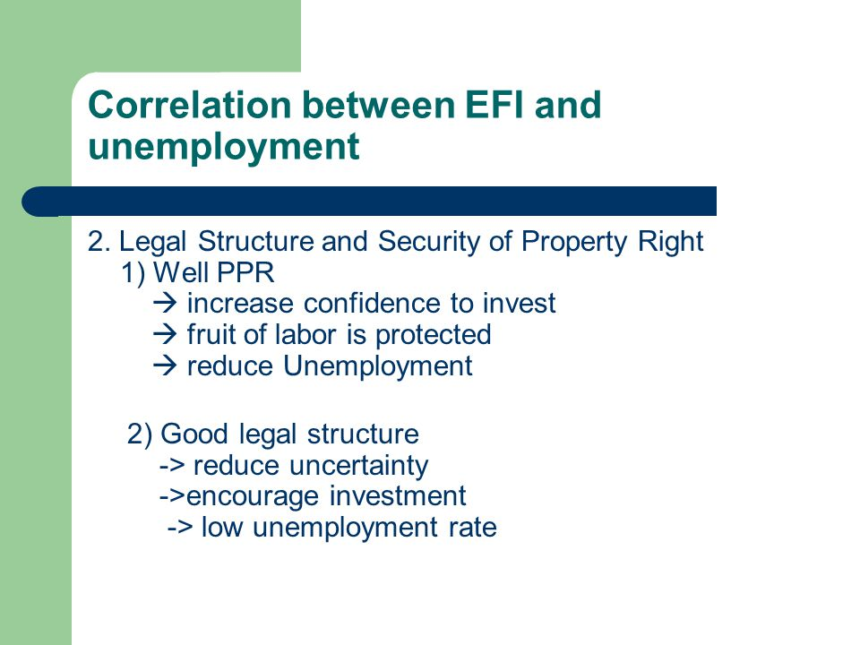 Correlation between EFI and unemployment 1.