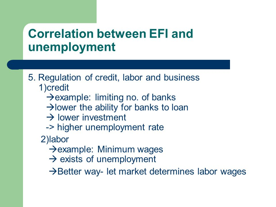 Correlation between EFI and unemployment 4.
