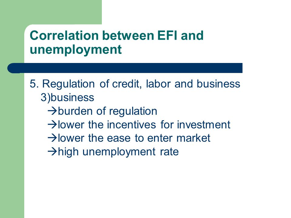 Correlation between EFI and unemployment 5.