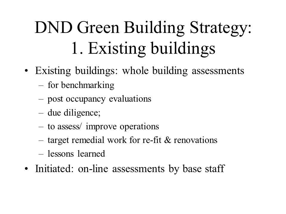 DND Green Building Strategy: 1.