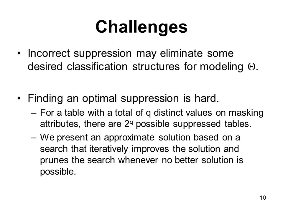 10 Challenges Incorrect suppression may eliminate some desired classification structures for modeling .