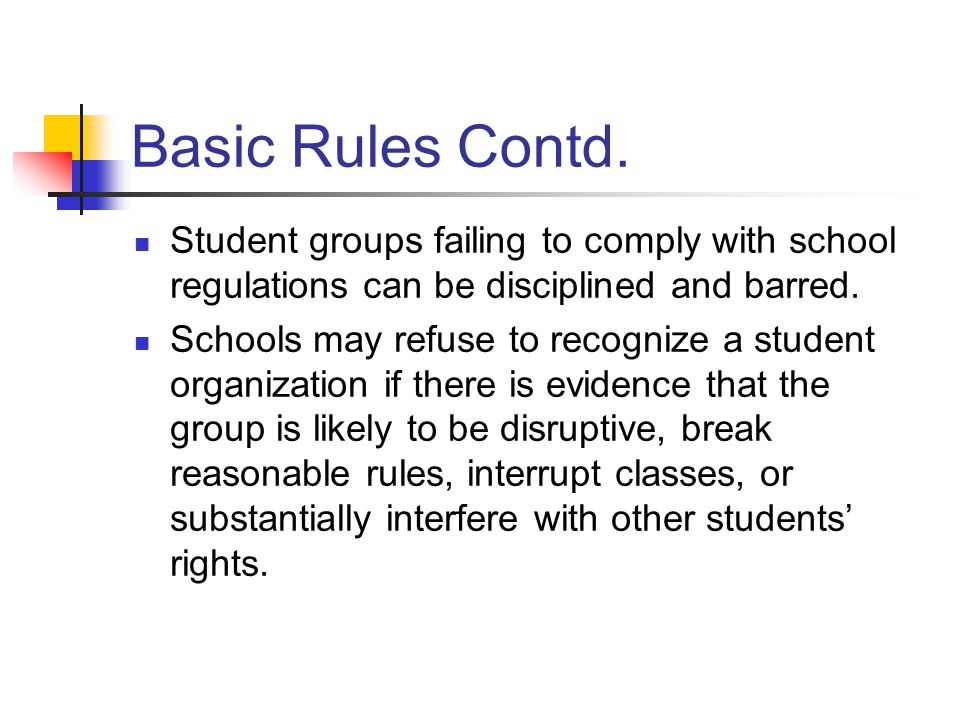 Basic Rules Contd. Student groups failing to comply with school regulations can be disciplined and barred. Schools may refuse to recognize a student o