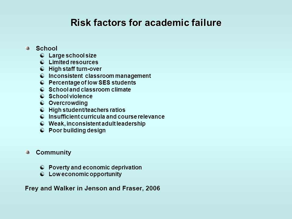Risk factors for academic failure School  Large school size  Limited resources  High staff turn-over  Inconsistent classroom management  Percenta