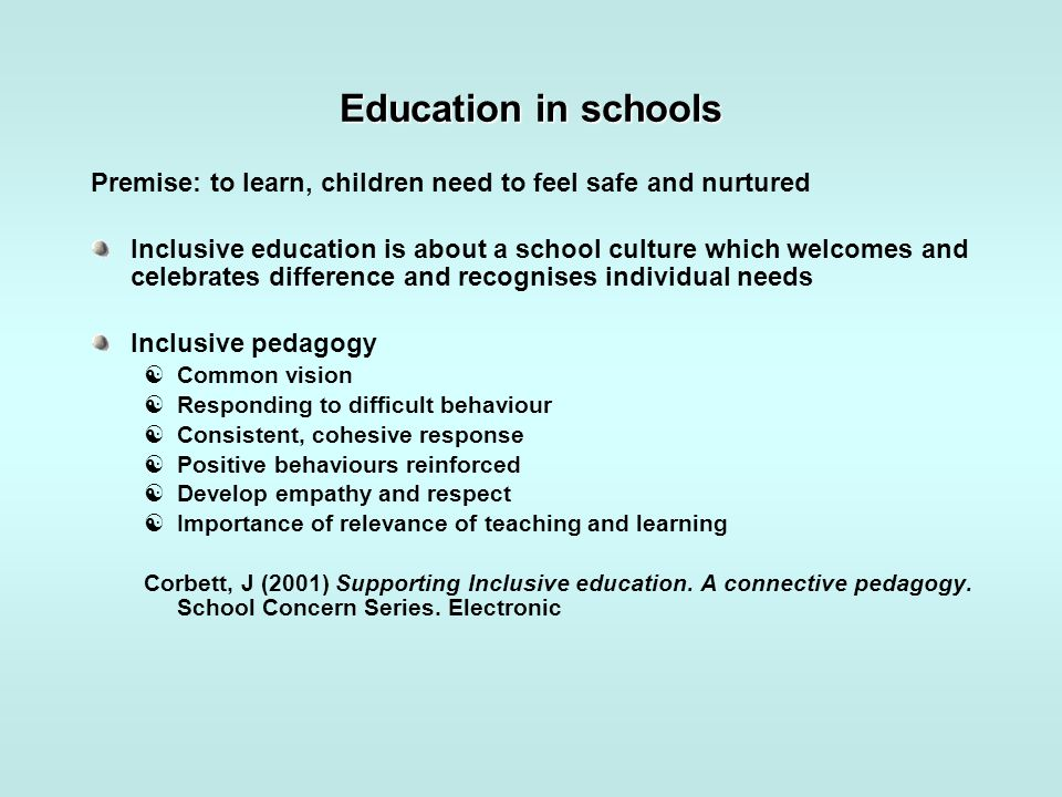 Education in schools Premise: to learn, children need to feel safe and nurtured Inclusive education is about a school culture which welcomes and celeb