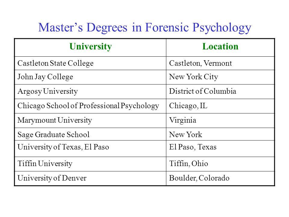 Master's Degrees in Forensic Psychology UniversityLocation Castleton State CollegeCastleton, Vermont John Jay CollegeNew York City Argosy UniversityDi