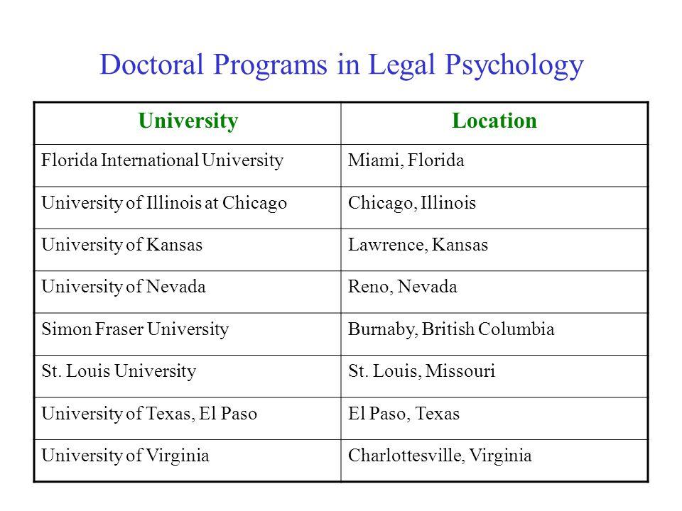 Doctoral Programs in Legal Psychology UniversityLocation Florida International UniversityMiami, Florida University of Illinois at ChicagoChicago, Illinois University of KansasLawrence, Kansas University of NevadaReno, Nevada Simon Fraser UniversityBurnaby, British Columbia St.