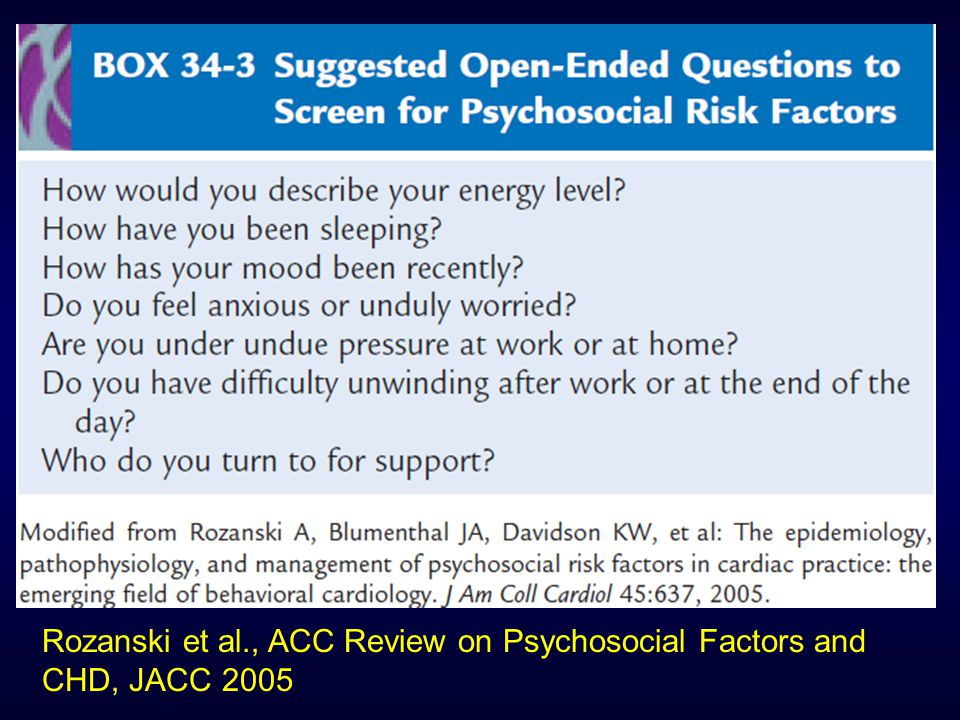 Rozanski et al., ACC Review on Psychosocial Factors and CHD, JACC 2005