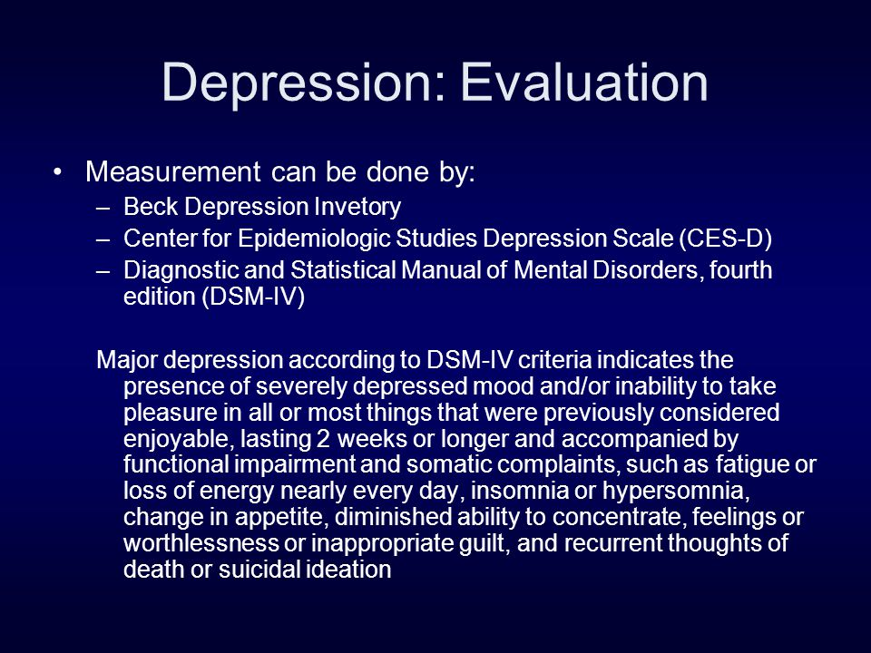 Depression and CVD (cont) Frasure-Smith et al (JAMA 1993) reported a 4-fold increase in mortality during 6 months following acute MI from depression in cardiac patients.