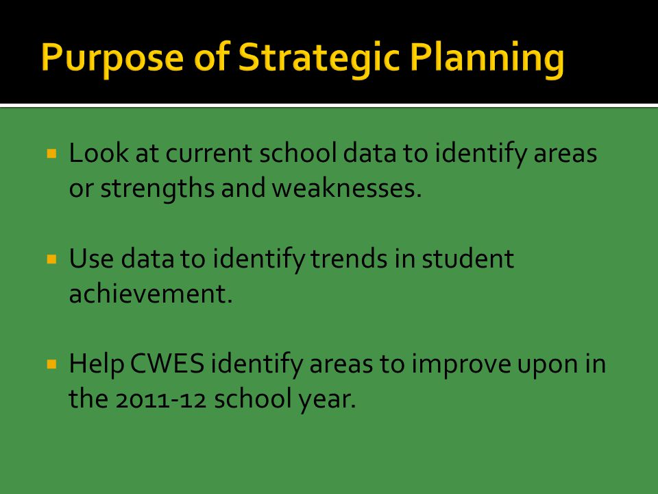  Look at current school data to identify areas or strengths and weaknesses.