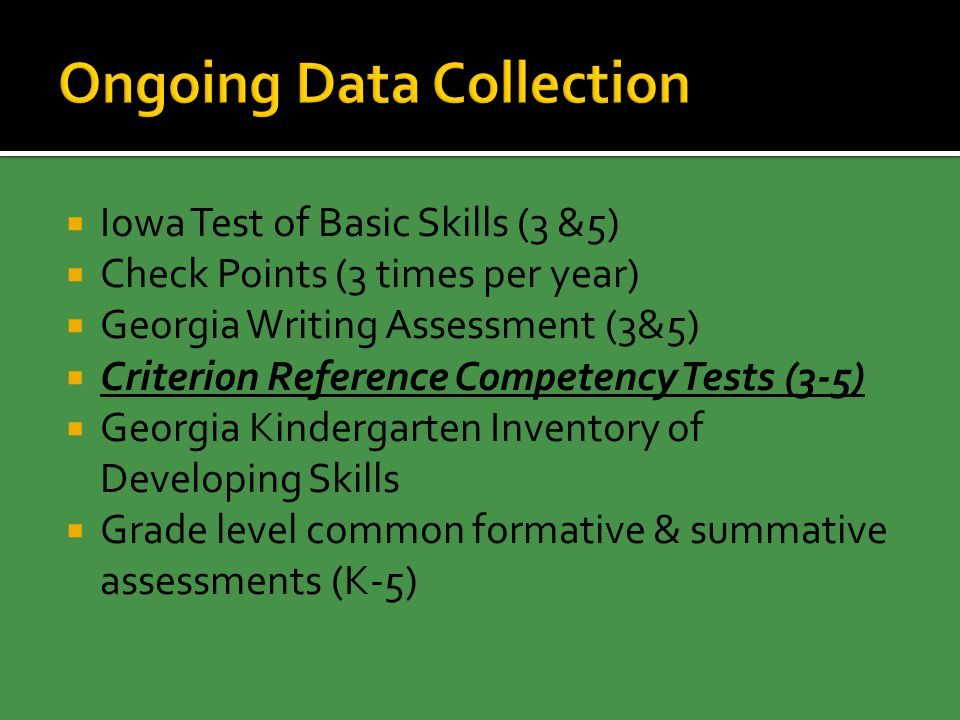 Iowa Test of Basic Skills (3 &5)  Check Points (3 times per year)  Georgia Writing Assessment (3&5)  Criterion Reference Competency Tests (3-5)  Georgia Kindergarten Inventory of Developing Skills  Grade level common formative & summative assessments (K-5)