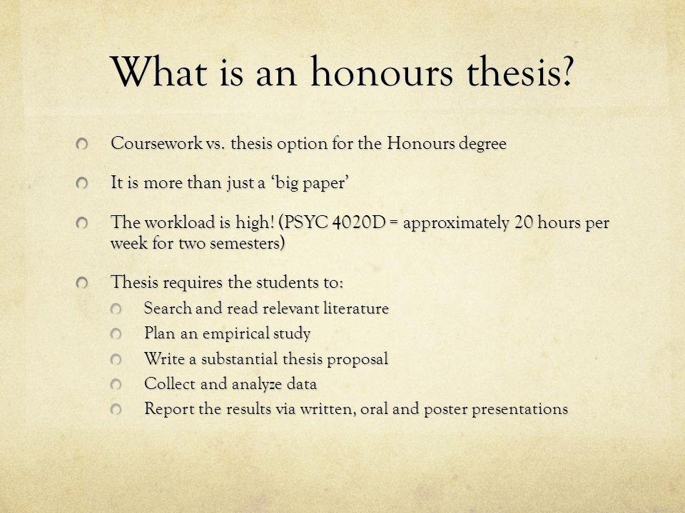 What is an honours thesis. Coursework vs.
