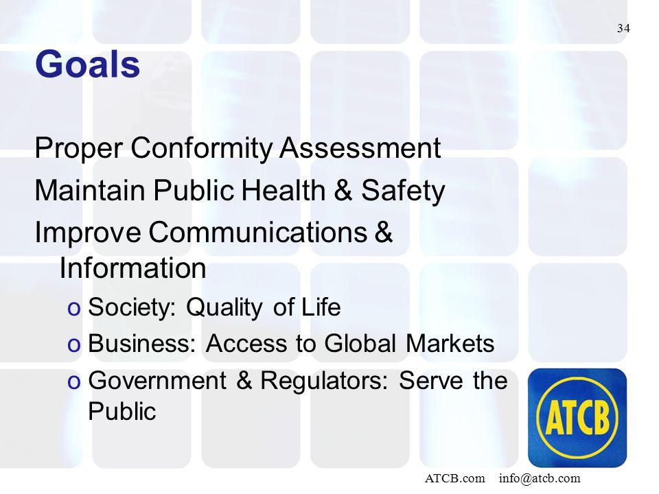34 ATCB.com info@atcb.com Goals Proper Conformity Assessment Maintain Public Health & Safety Improve Communications & Information oSociety: Quality of