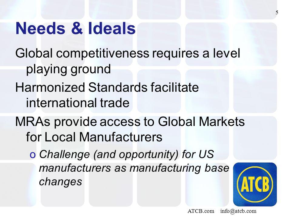 5 ATCB.com info@atcb.com Needs & Ideals Global competitiveness requires a level playing ground Harmonized Standards facilitate international trade MRA