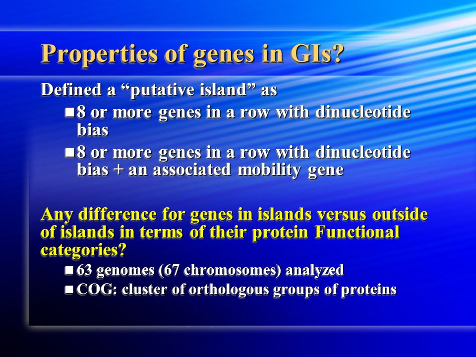 Properties of genes in GIs.