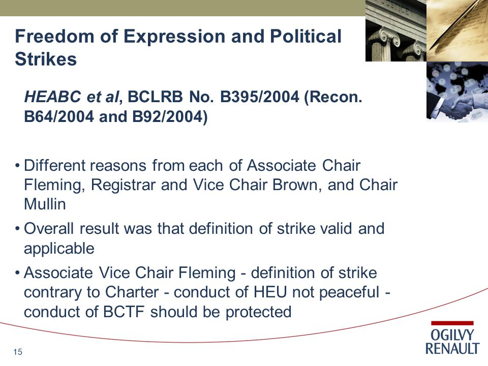 15 Freedom of Expression and Political Strikes HEABC et al, BCLRB No.