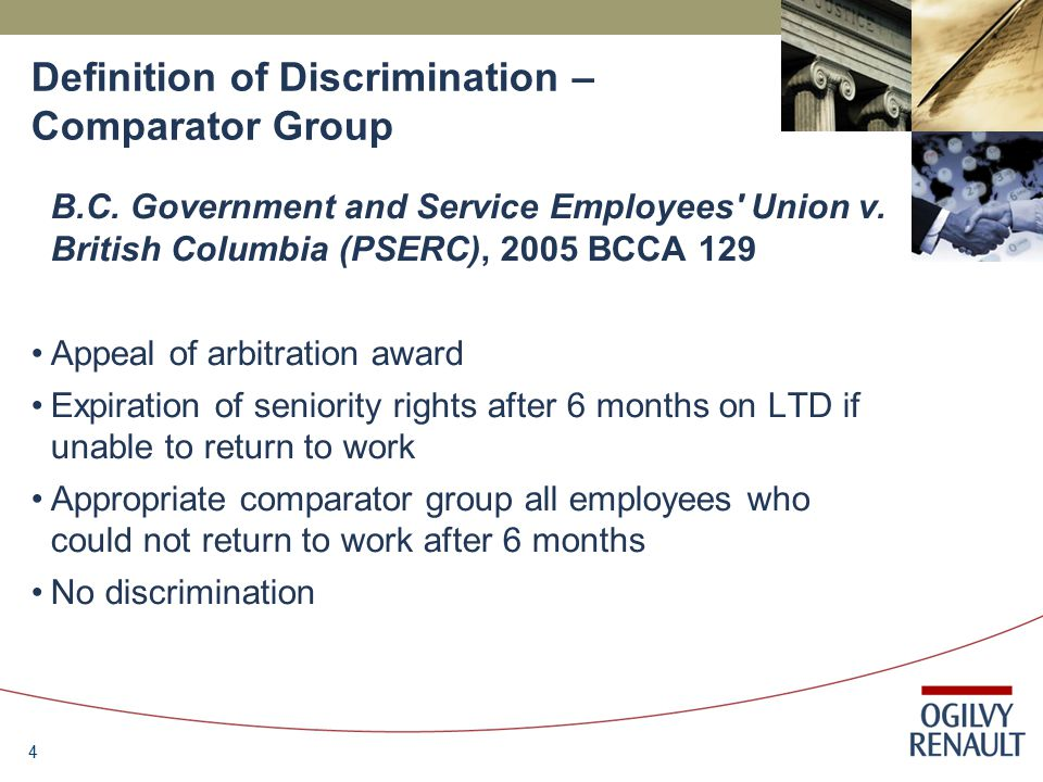 4 Definition of Discrimination – Comparator Group B.C.