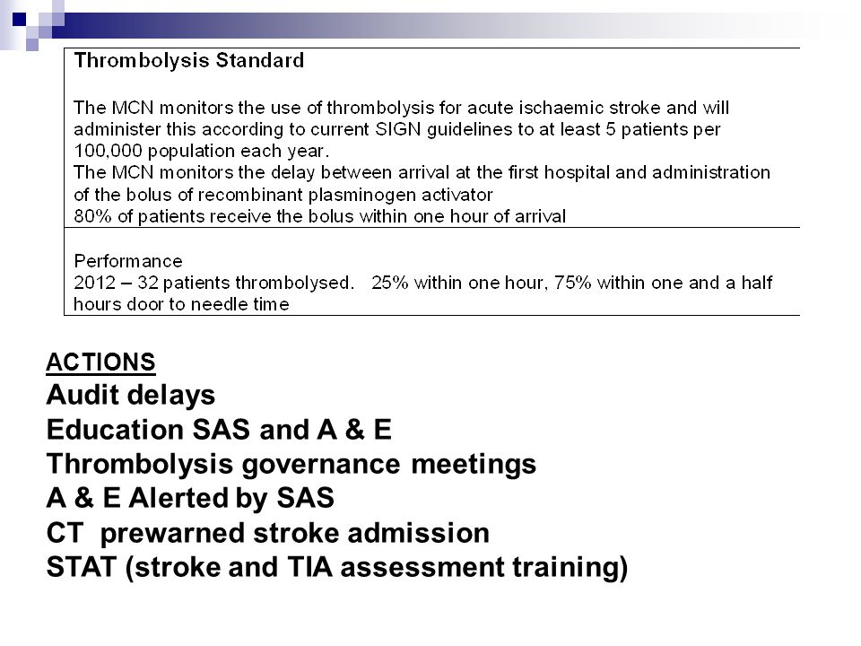 ACTIONS Audit delays Education SAS and A & E Thrombolysis governance meetings A & E Alerted by SAS CT prewarned stroke admission STAT (stroke and TIA assessment training)