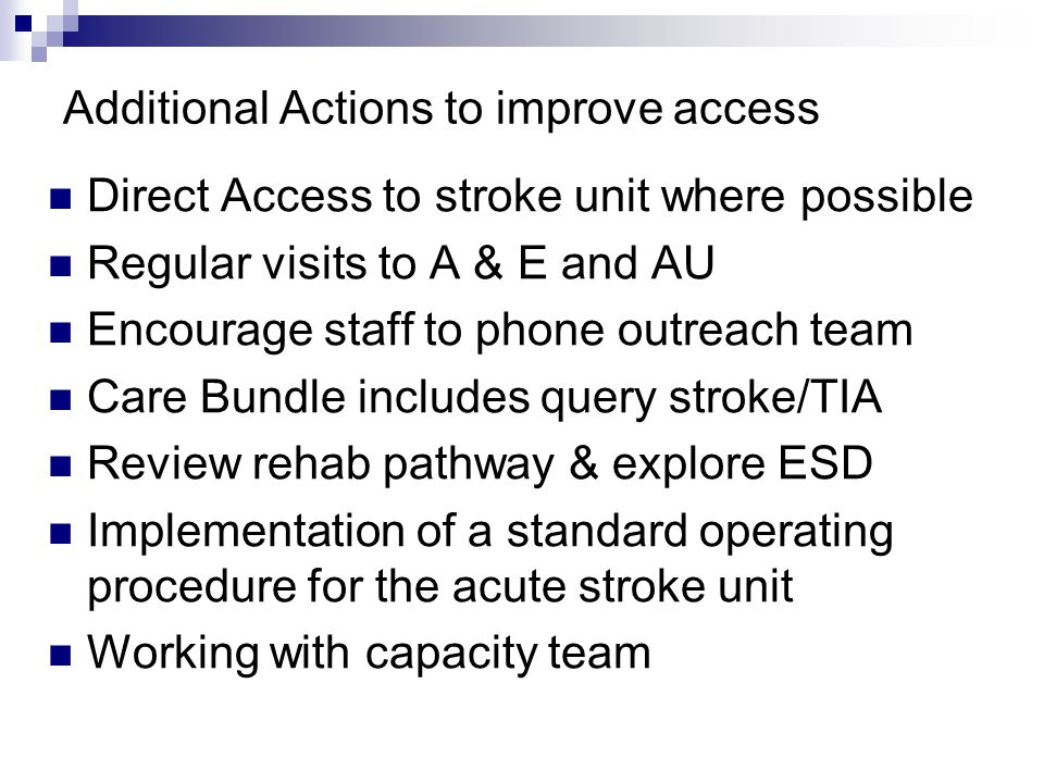 Additional Actions to improve access Direct Access to stroke unit where possible Regular visits to A & E and AU Encourage staff to phone outreach team Care Bundle includes query stroke/TIA Review rehab pathway & explore ESD Implementation of a standard operating procedure for the acute stroke unit Working with capacity team