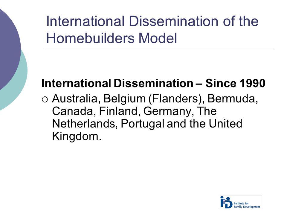 International Dissemination of the Homebuilders Model International Dissemination – Since 1990  Australia, Belgium (Flanders), Bermuda, Canada, Finla