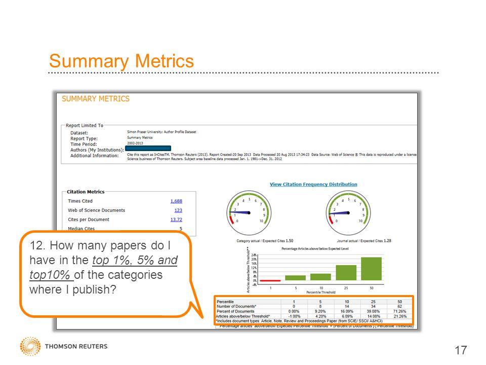 Summary Metrics 17 12.