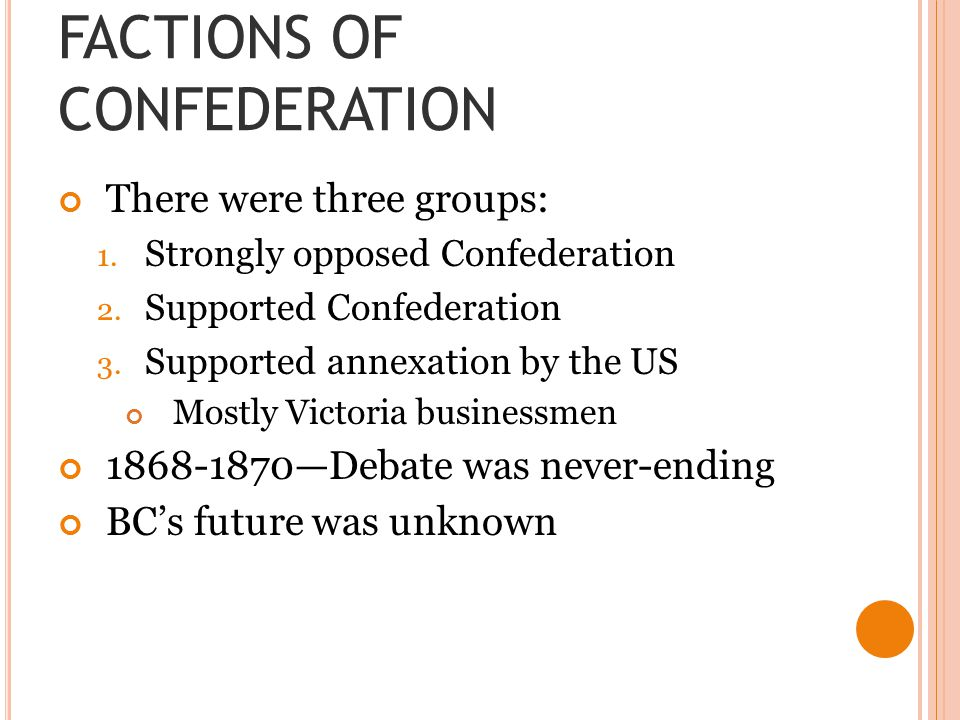 FACTIONS OF CONFEDERATION There were three groups: 1.