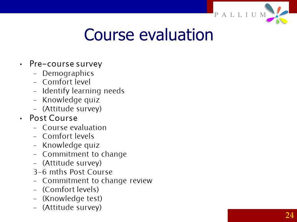 PALLIUM 24 Course evaluation Pre-course survey –Demographics –Comfort level –Identify learning needs –Knowledge quiz –(Attitude survey) Post Course –C