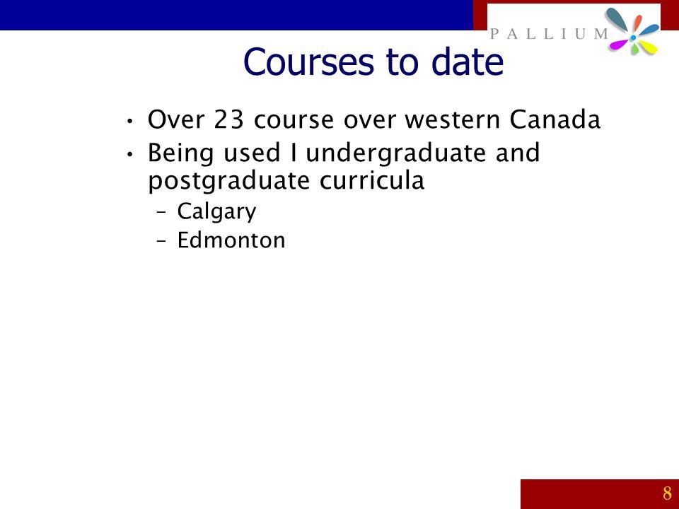PALLIUM 8 Courses to date Over 23 course over western Canada Being used I undergraduate and postgraduate curricula –Calgary –Edmonton