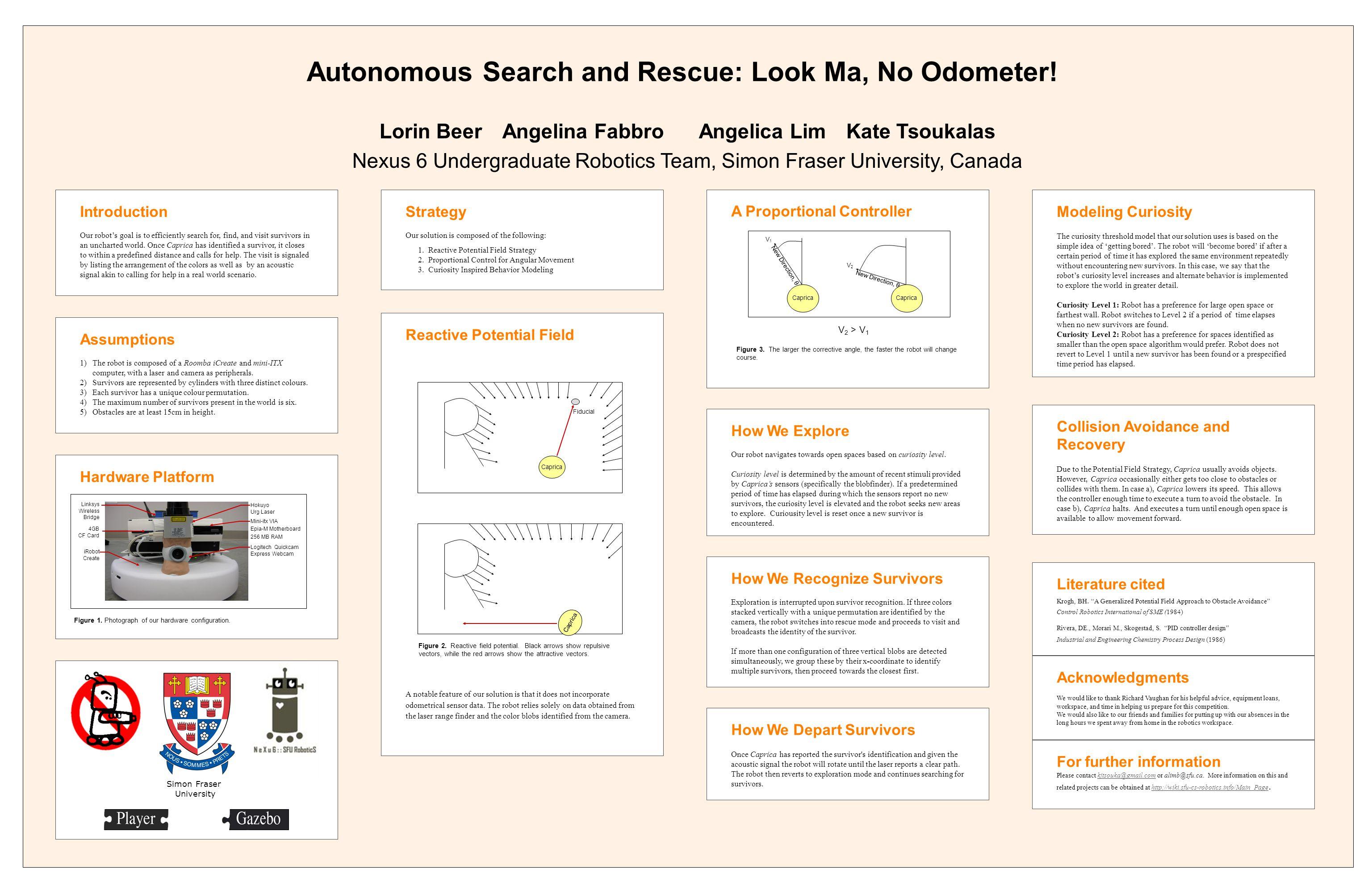 Lorin BeerAngelina FabbroAngelica LimKate Tsoukalas Nexus 6 Undergraduate Robotics Team, Simon Fraser University, Canada Autonomous Search and Rescue: Look Ma, No Odometer.