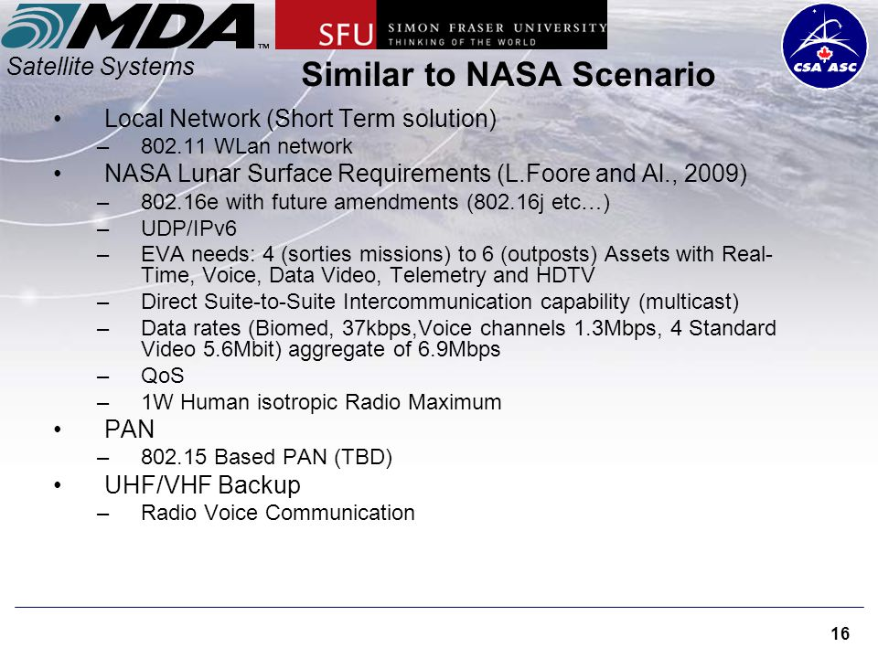 Satellite Systems 16 Similar to NASA Scenario Local Network (Short Term solution) –802.11 WLan network NASA Lunar Surface Requirements (L.Foore and Al., 2009) –802.16e with future amendments (802.16j etc…) –UDP/IPv6 –EVA needs: 4 (sorties missions) to 6 (outposts) Assets with Real- Time, Voice, Data Video, Telemetry and HDTV –Direct Suite-to-Suite Intercommunication capability (multicast) –Data rates (Biomed, 37kbps,Voice channels 1.3Mbps, 4 Standard Video 5.6Mbit) aggregate of 6.9Mbps –QoS –1W Human isotropic Radio Maximum PAN –802.15 Based PAN (TBD) UHF/VHF Backup –Radio Voice Communication