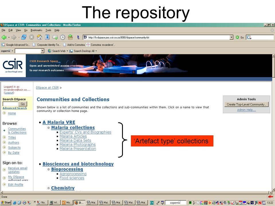 The repository 'Artefact type' collections