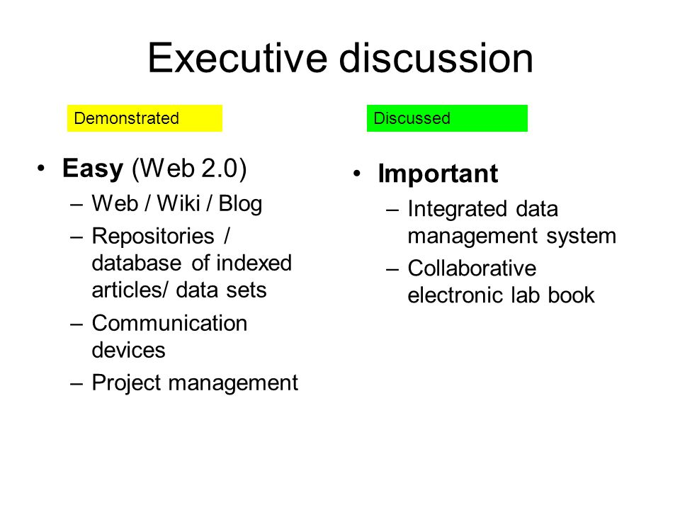 Executive discussion Easy (Web 2.0) –Web / Wiki / Blog –Repositories / database of indexed articles/ data sets –Communication devices –Project management Important –Integrated data management system –Collaborative electronic lab book DemonstratedDiscussed