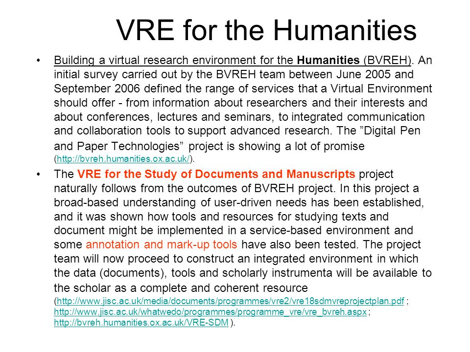Building a virtual research environment for the Humanities (BVREH).