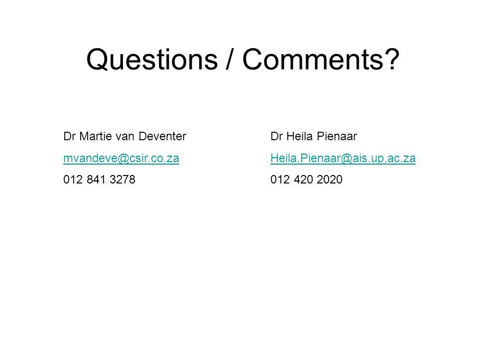 Questions / Comments? Dr Martie van Deventer mvandeve@csir.co.za 012 841 3278 Dr Heila Pienaar Heila.Pienaar@ais.up.ac.za 012 420 2020