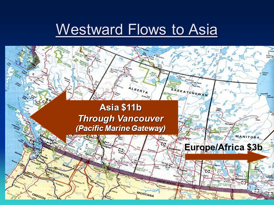 10 Westward Flows to Asia Asia $11b Through Vancouver (Pacific Marine Gateway) Europe/Africa $3b