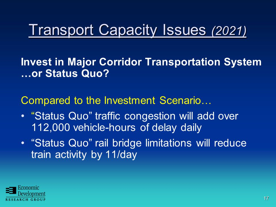 17 Transport Capacity Issues (2021) Invest in Major Corridor Transportation System …or Status Quo.